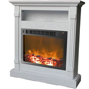Sienna 34 In. Electric Fireplace w/ 1500W Log Insert and White Mantel