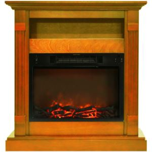 34-In. Sienna Electric Fireplace w/ 1500W Log Insert and Teak Mantel