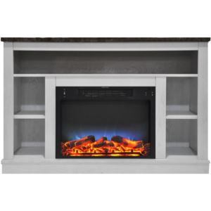 47 In. Electric Fireplace with a Multi-Color LED Insert and White Mantel