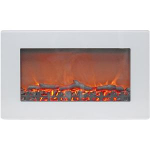 30-In. Callisto Wall Mount Electric Fireplace with Log Display, Timer, and Remote, White