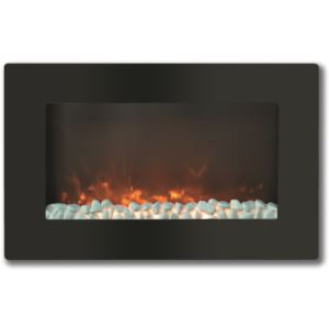 30-In. Callisto Wall Mount Electric Fireplace with Crystal Display, Timer, and Remote, Black