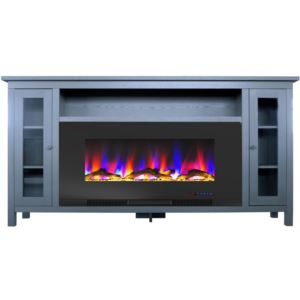 Somerset 70-In. Slate Blue Electric Fireplace TV Stand with Multi-Color LED Flames, Driftwood Log Di