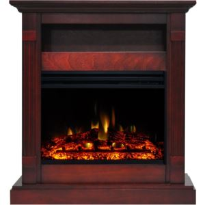 Sienna 34-In. Electric Fireplace Heater with Cherry Mantel, Enhanced Log Display, Multi-Color Flames