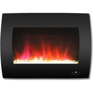 26 In. Curved Wall-Mount Electric Fireplace in Black with Multi-Color Flames and Crystal Rock Displa