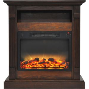 Sienna 34 In. Electric Fireplace w/ Enhanced Log Display and Walnut Mantel