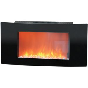 Callisto 35 In. Wall-Mount Electric Fireplace with Curved Panel and Crystal Rocks