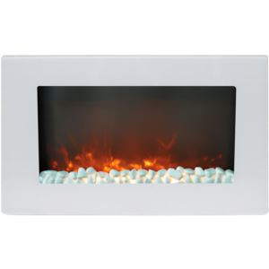 30-In. Callisto Wall Mount Electric Fireplace with Crystal Display, Timer, and Remote, White