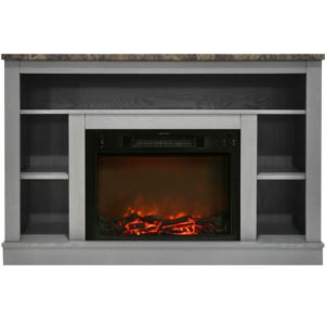47 In. Electric Fireplace with 1500W Charred Log Insert and A/V Storage Mantel in Gray