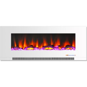 50 In. Wall-Mount Electric Fireplace in White with Multi-Color Flames and Driftwood Log Display