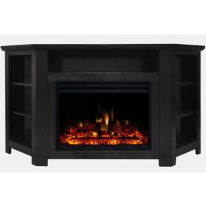 Stratford Electric Fireplace Heater with 56-In. Black Corner TV Stand, Enhanced Log Display, Multi-C