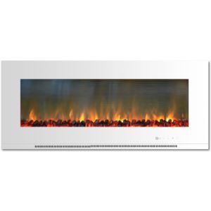 Metropolitan 56 In. Wall-Mount Electric Fireplace in White with Burning Log Display