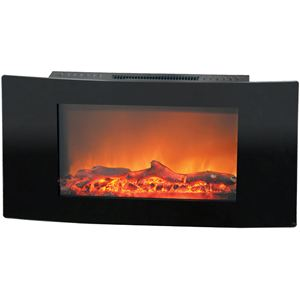 Callisto 35 In. Wall-Mount Electric Fireplace with Black Curved Panel and Realistic Log Display