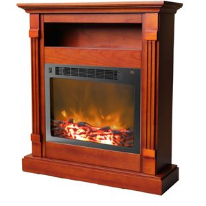 Sienna 34 In. Electric Fireplace w/ 1500W Log Insert and Cherry Mantel