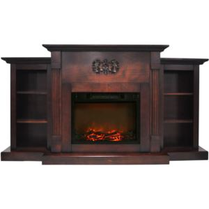 Sanoma 72 In. Electric Fireplace in Mahogany with Built-in Bookshelves and a 1500W Charred Log Inser