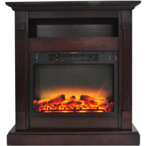 Sienna 34 In. Electric Fireplace w/ Enhanced Log Display and Mahogany Mantel