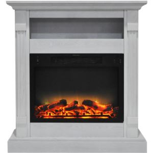 Sienna 34 In. Electric Fireplace w/ Enhanced Log Display and White Mantel