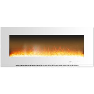 Metropolitan 56 In. Wall-Mount Electric Fireplace in White with Crystal Rock Display