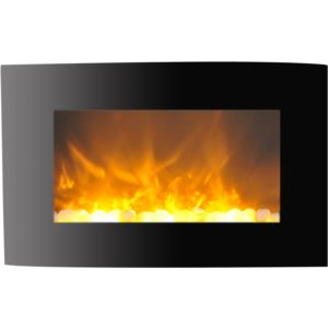 35-In. Callisto Curved Wall Mount Electric Fireplace with Crystal Display, Timer, and Remote, Black
