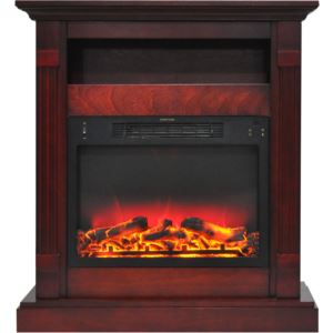 Sienna 34 In. Electric Fireplace w/ Enhanced Log Display and Cherry Mantel