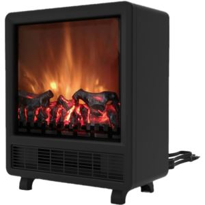 17.8-In Freestanding 4606 BTU Electric Fireplace with Wood Log Insert, Black