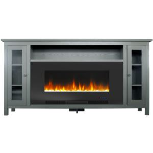 Somerset 70-In. Gray Electric Fireplace TV Stand with Multi-Color LED Flames, Crystal Rock Display,