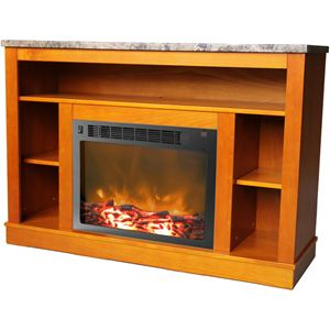 47 In. Electric Fireplace with 1500W Charred Log Insert and A/V Storage Mantel in Teak