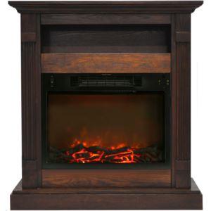 Sienna 34 In. Electric Fireplace w/ 1500W Log Insert and Walnut Mantel