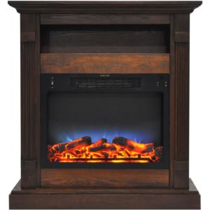 Sienna 34 In. Electric Fireplace w/ Multi-Color LED Insert and Walnut Mantel