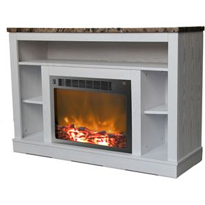 47 In. Electric Fireplace with 1500W Charred Log Insert and A/V Storage Mantel in White
