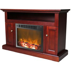 Sorrento Electric Fireplace with 1500W  Log Insert and 47 In. Entertainment Stand in Mahogany