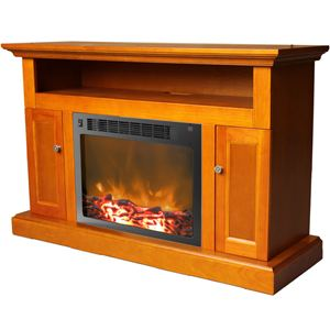 Sorrento Electric Fireplace with 1500W  Log Insert and 47 In. Entertainment Stand in Teak