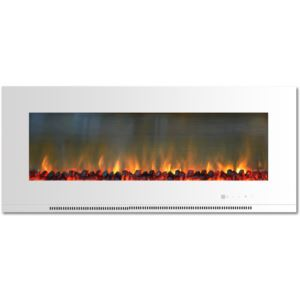 56-In. Metropolitan Wall-Mount Electric Fireplace in White with Burning Log Display