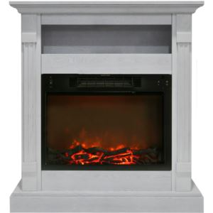 34-In. Sienna Electric Fireplace w/ 1500W Log Insert and White Mantel