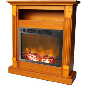 Sienna 34 In. Electric Fireplace w/ 1500W Log Insert and Teak Mantel