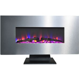 42 In. Metallic Electric Fireplace in Stainless Steel with Multi-Color Log Display
