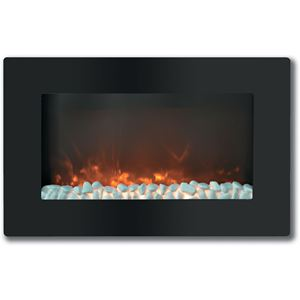 Callisto 30 In. Wall-Mount Electric Fireplace with Flat Panel and Crystal Rocks
