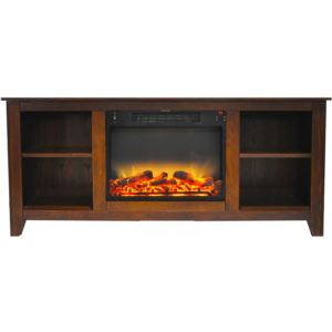 Santa Monica 63 In. Electric Fireplace & Entertainment Stand in Walnut with Enhanced Log Display