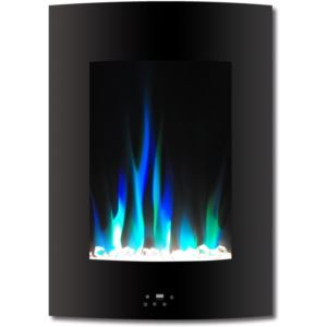 19.5 In. Vertical Electric Fireplace in White with Multi-Color Flame and Crystal Display