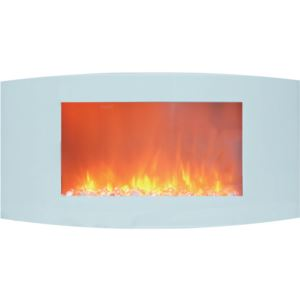 Callisto 35 In. Wall-Mount Electric Fireplace with White Curved Panel and Crystal Rocks