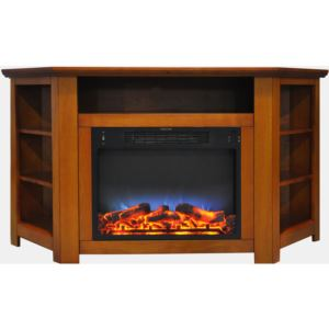 Stratford 56 In. Electric Corner Fireplace in Teak with LED Multi-Color Display