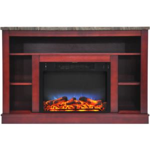 47 In. Electric Fireplace with a Multi-Color LED Insert and Cherry Mantel