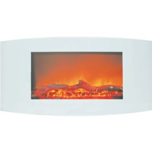 Callisto 35 In. Wall-Mount Electric Fireplace with White Curved Panel and Realistic Log Display