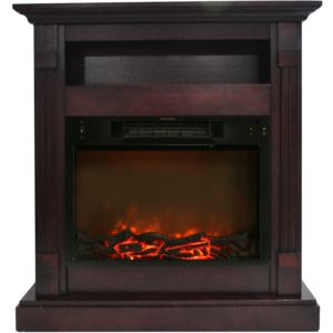 34-In. Sienna Electric Fireplace w/ 1500W Log Insert and Mahogany Mantel