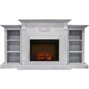 Sanoma 72 In. Electric Fireplace in White with Built-in Bookshelves and a 1500W Charred Log Insert
