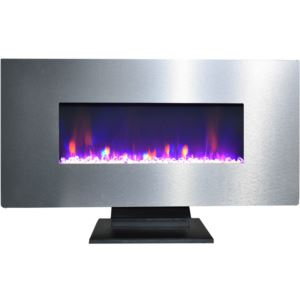 42 In. Metallic Electric Fireplace in Stainless Steel with Multi-Color Crystal Rock Display