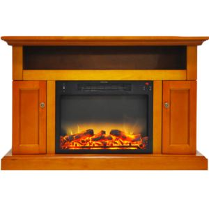 Sorrento Electric Fireplace with an Enhanced Log Display and 47 In. Entertainment Stand in Teak