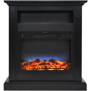 Sienna 34 In. Electric Fireplace w/ Multi-Color LED Insert and Black Coffee Mantel