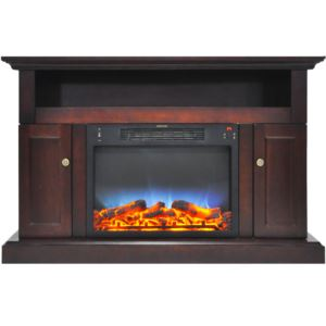 Sorrento Electric Fireplace with Multi-Color LED Insert and 47 In. Entertainment Stand in Mahogany