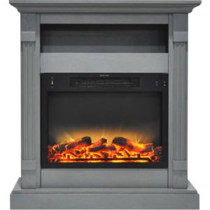 Sienna 34 In. Electric Fireplace w/ Enhanced Log Display and Gray Mantel