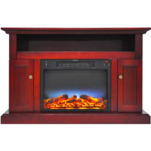Sorrento Electric Fireplace with an Enhanced Log Display and 47 In. Entertainment Stand in Cherry